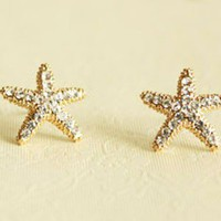 Fashion Rhinestone Starfish Golden .. on Luulla