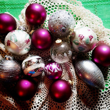 Fourteen Vintage Christmas Glass Ornaments // Set of Vintage Ornaments // From the 50s //