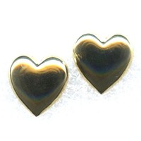 Vintage Small HEART Gold Tone Pierced Earrings 9/16""