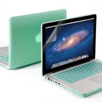 GMYLE 3 in 1 Matte Rubber Coated See-Thru Hard Case Cover for Aluminum Unibody 13.3-Inch Macbook Pro with Robin Egg Blue Silicon Keyboard Protector and 13-Inch Clear LCD Screen Protector