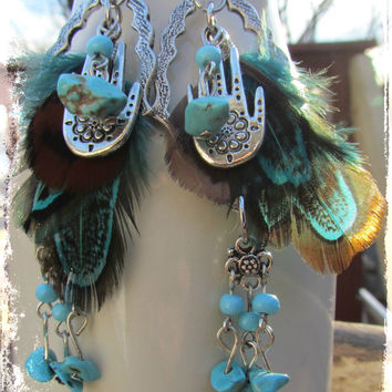 Silver Gypsy Boho Feather Turquoise Dangle Earrings~Artisan Hamsa Earrings~Beaded Gemstone Hippie Earrings~Women's Jewelry~Mdogstudios~