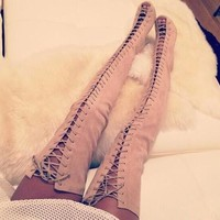 Metal Stud Cover Thigh Gladiator Boots Peep Toe Cut Outs Long Boots High Heel Boots