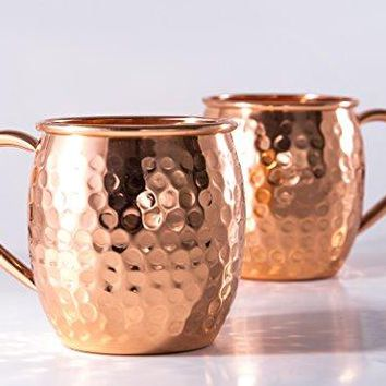 Moscow Mule Copper Mugs  Set Of 2  Hammered Design Mug With Handles  Our Solid 16 Oz Cups Are Pure Genuine Copper  Makes A Great Gift Set For Men And Women  Good For Beer amp Ginger Beer Cocktails