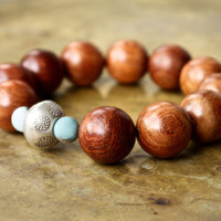 Mens mala bracelet Brown wood bracelet Rosewood huge bead bracelet Thai sterling silver Matte amazonite beads Brown and blue Hippie style