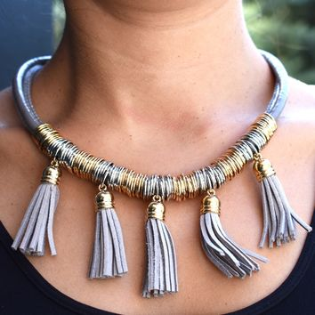 Two Tone Coil with Tassles Necklace