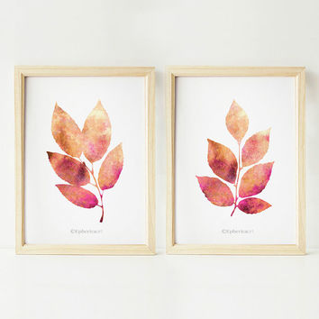 Leaves art prints, 5x7 Printable wall art, Brown Nature art Wall prints, PRINTABLE art Set of 2 prints, 5x7 art prints, Bathroom wall decor