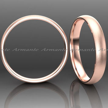 Brushed Rose Gold Wedding Band, 3.00mm Wide