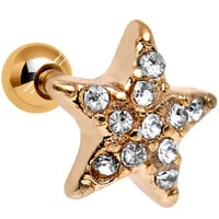18 Gauge Clear CZ Gold Plated Feel Like a Star Cartilage Tragus Earring   Body Candy Body Jewelry