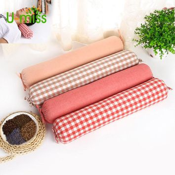 U-miss Full Buckwheat Shell Traction Health Neck Pillow Round Candy Solid Plaid Pillow Will Be Selling Gifts 10 Color