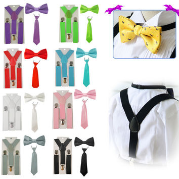 Fashion Boys Girl kid Suspender Adjustable Elastic Y-Back Braces Baby Suspenders Set Bow Tie + NeckTie Wedding