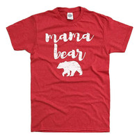 MAMA Bear Red Heather and Hot Pink Heather Unisex T-shirt