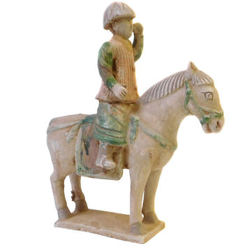 Chinese Pottery Clay Ancient Style Riding Horse Figure cs1434S