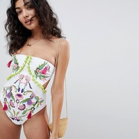 ASOS DESIGN Floral Garden Embroidered Tassel Bandeau Swimsuit at asos.com