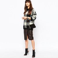 Black And White Plaid Loose Knitted Sweater
