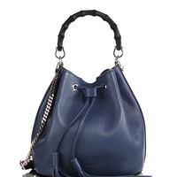 """GUCCI """"Miss Bamboo"""" leather bucket bag."""