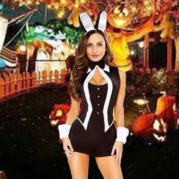 Sexy Women 5 Piece Tuxedo Bunny Costume Tux and Tails Halloween Cosplay Uniform Black