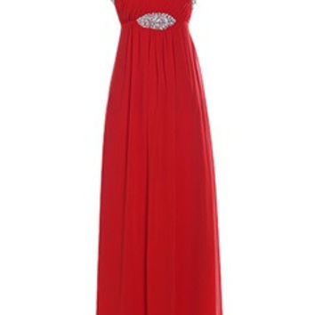 Straps Empire Silhouette Chiffon Evening Dress