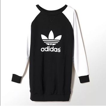 Adidas Fall Fashion Big Big hit color mosaic long-sleeved base sweater