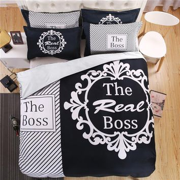 "iDouillet 3D Initial ""The Real BOSS"" Bedding Set for Couple Duvet Cover Sheet Pillowcase Queen King Size Black White Bedlinen"