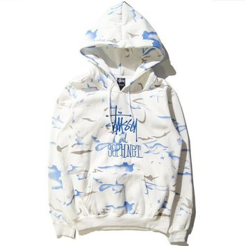 Stussy Embroidered tie-dye men and women lovers sets add wool sweater White blue letters