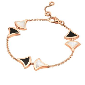 Bvlgari Rose Gold Onyx and Mother-Of-Pearl Divas' Dream Bracelet | Harrods.com