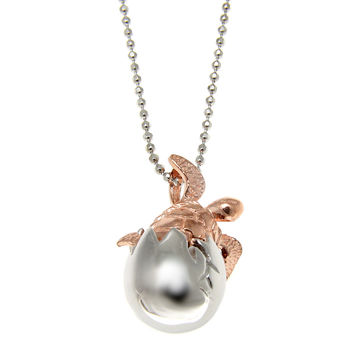 SILVER 925 HAWAIIAN ROSE GOLD RHODIUM SEA TURTLE HATCHING FROM EGG SLIDE PENDANT