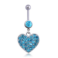 New Charming Dangle Crystal Navel Belly Ring Bling Barbell Button Ring Piercing Body Jewelry = 4804896964