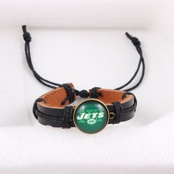 New Sport Fashion Leather Adjustable Bracelet Jewelry Team Football New York Jets USA Sport Fans Accessories Jewelry 6pcs/lot