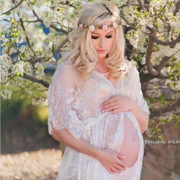maternity photography props maxi Maternity gown Lace Maternity Dress Fancy shooting photo beach pregnant dress Plus