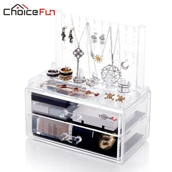 Combinable Makeup Organizer Jewelry 2 Drawer Cases