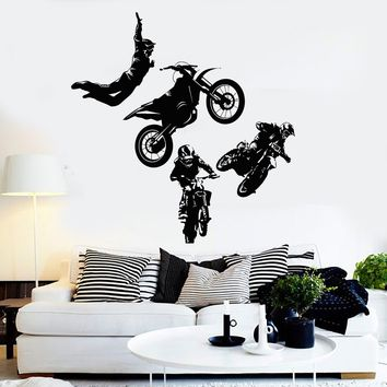 Vinyl Wall Decal Freestyle Motocross Motorcycle Racer Extreme Sports Stickers Unique Gift (ig4288)