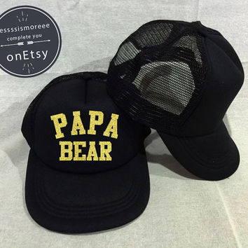 Papa Bear Hats papa Caps Mom Hats papi Hats, Gift For dad, Father Gift Husband, Father Grandfather, Day Trucker Hat Gold glitter
