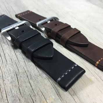 Panarai Style Leather Watch Band, 22mm, 24mm, Hand Stitched,Water proof. Comes in Black with Charcoal Stitch and Brown with Orange Stitch