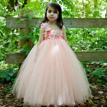 Flower Girl Tutu Dress Peach Coral Flower Tulle Dress Floor-Length Kids Tutu Dress For Wedding Birthday Party Photo TS075