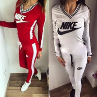 """Nike"" High Quality Print V-Neck Sweatshirt Sweater Pants Sweatpants Set Two-Piece Sportswear"
