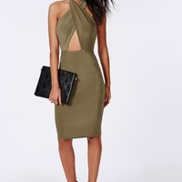SLINKY CROSS FRONT HALTERNECK CUT OUT MIDI DRESS KHAKI