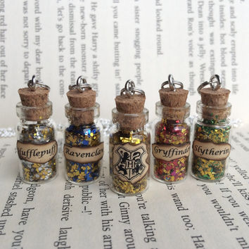Hogwarts Houses Bottle Necklace / Pendant / Bookmark / Earrings / Decoration / Keyring inspired by Harry Potter