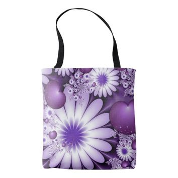 Falling in Love Abstract Flowers & Hearts Fractal Tote Bag