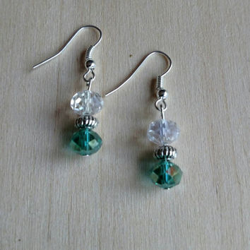 Small beaded drop earrings, teal and clear faceted beads, translucent beaded earrings, small lightweight beaded earrings.