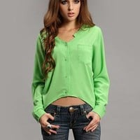 Green Irregular Bat Sleeve Hem Shirt S010023