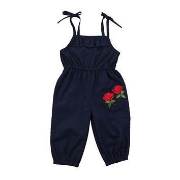 Kids Baby Girls Rose Flower Romper Lace Shoulder Jumpsuit Outfit Clothes Kid Girls Clothing