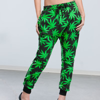 High And Mighty Leaf Print Joggers