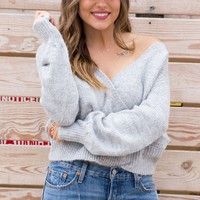 Grey Knit Wrap Sweater Top