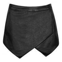 Jalisa Black Leather Asymmetric Hem Skorts | Shelikes