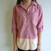 Ombre Red Chambray Shirt by rerunvintage on Etsy