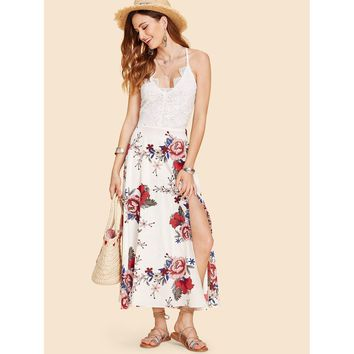 Multicolor Contrast Lace Floral Print Long Dress