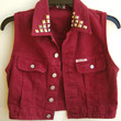 Red Denim Vest Vintage Guess Sleeveless Jean Jacket Studded Jean Vest Maroon Color Size Small