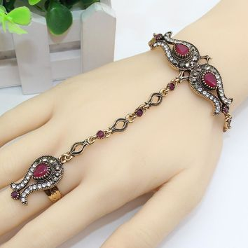 Luxury Turkish Tulips Flower Bracelet Ring Set Resin Antique Gold Color India Dance Wedding Jewelry