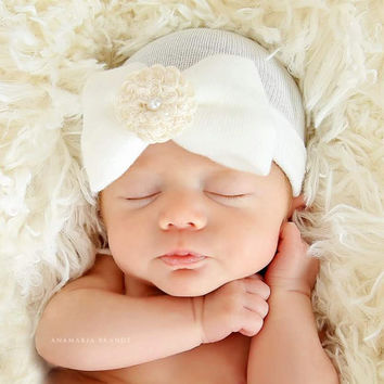 Newborn Hospital Hat Baby's 1st Keepsake!. Newborn Baby Hats. With Pretty Bow, Ivory Flower and Pearl. Choice of FLOWER COLOR!