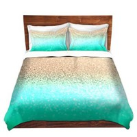 Duvet Cover Brushed Twill Twin, Queen, King SETs from DiaNoche Designs by Monika Strigel Unique Home Decor and Designer Bedding Ideas - Gatsby Aqua Ombre Gold